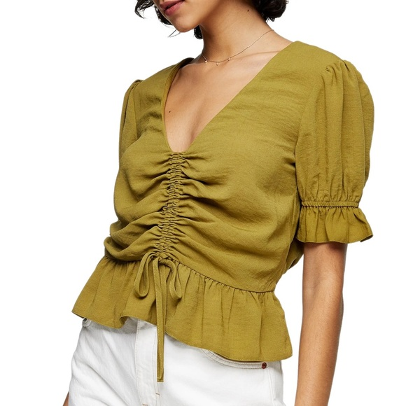 TOPSHOP Margot Ruched Top In Green
